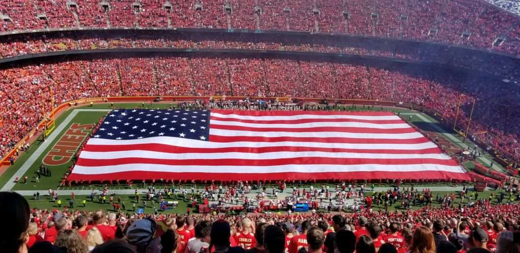 <b>A full-field American flag will be displayed on the Arrowhead Stadium playing surface during the performance of the national anthem.</b> Salina Post photo courtesy Devin Hanney