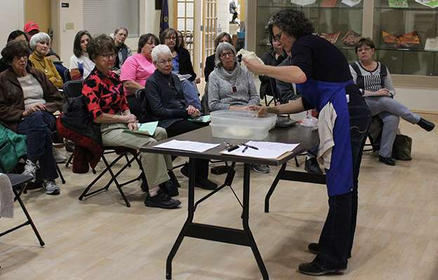 Cathy Drabkin of Cathy's Breads drew a full house for her baking demonstration at the Hays Public Library Thursday night. During the busy holiday season, Drabkin can make as many as 185 items a week in her home-based bakery.