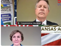 Rep. Roger Marshall and State Senator Barbara Bollier during a virtual debate Sept. 19