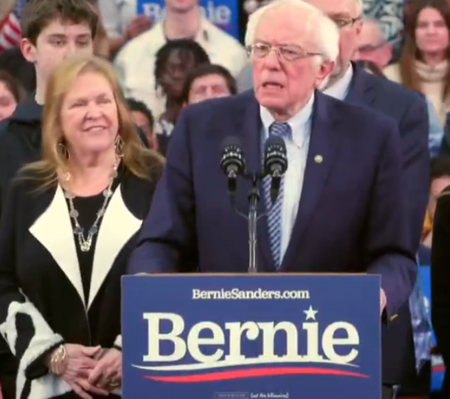 Bernie Sanders thanks supporters Tuesday night -image courtesy Sanders campaign for President.