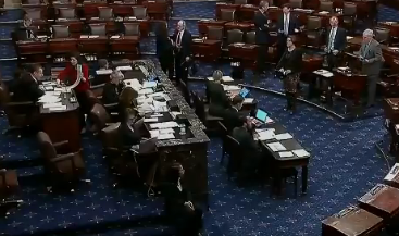 The United States Senate during Thursday afternoon's vote -image courtesy CSPAN