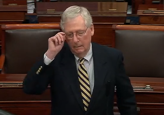 Majority Leader Mitch McConnell on the U.S. Senate floor just before 10:30 p.m. Sunday night-image courtesy CSPAN