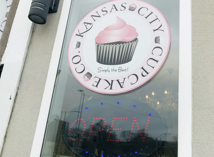 Businesses like this family owned cupcake store in downtown Kansas City, Kansas, have been closed to walk-in business since the shutdown started in mid-March. Laura Ziegler photo
