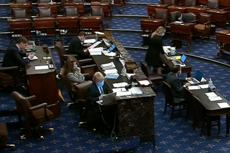 A quiet U.S. Senate chamber  -image courtesy CSPAN