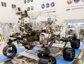 NASA Mars Rover weighs about 2,260 pounds including a robotic armwith a 99-pound turret at the end. It is about 10 feet long (not including the arm), 9 feet wide and 7 feet tall withwith a robotic arm that is about 7 feet long-image courtesy NASA