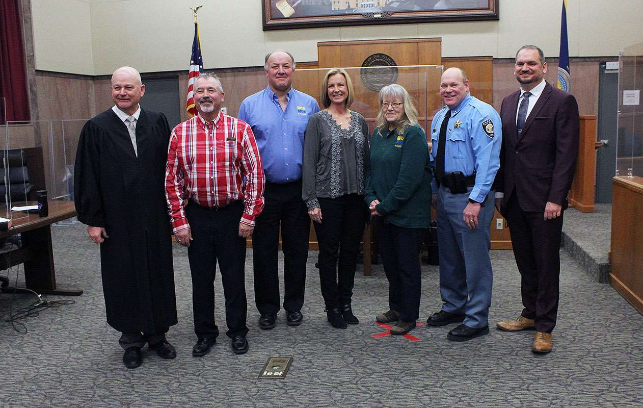 Judge Glenn Braun, County Commissioner for the Second District Neal Younger, County Commissioner for the Third District Dean Haselhorst, County Clerk Bobbi Dreiling, Register of Deeds Rebecca Herzog, Sheriff Scott Braun and County Attorney Robert Anderson Jr. after being sworn in Monday to their elected posts. Corrected, 9:15 a.m. Tuesday to correct caption.