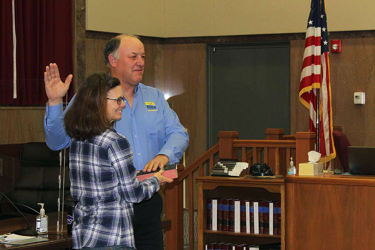Ellis County Commissioner for the Third District Dean Haselhorst is sworn in to another term as county commissioner Monday.