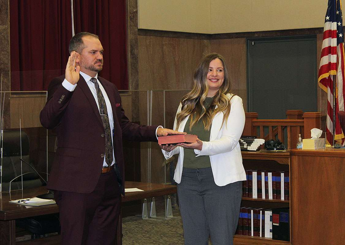 Robert Anderson Jr. is sworn in for his first term as Ellis County Attorney. Anderson replaces Tom Drees, who was sworn in later that day as a judge for the 23rd Judicial District. Corrected, 8:40 a.m. Tuesday to correct Robert Anderson Jr.'s name.