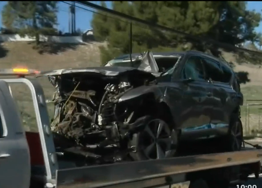 The vehicle following the February 2021 rollover accident involving Tiger Woods in a suburb of Los Angeles. photos courtesy KTLA