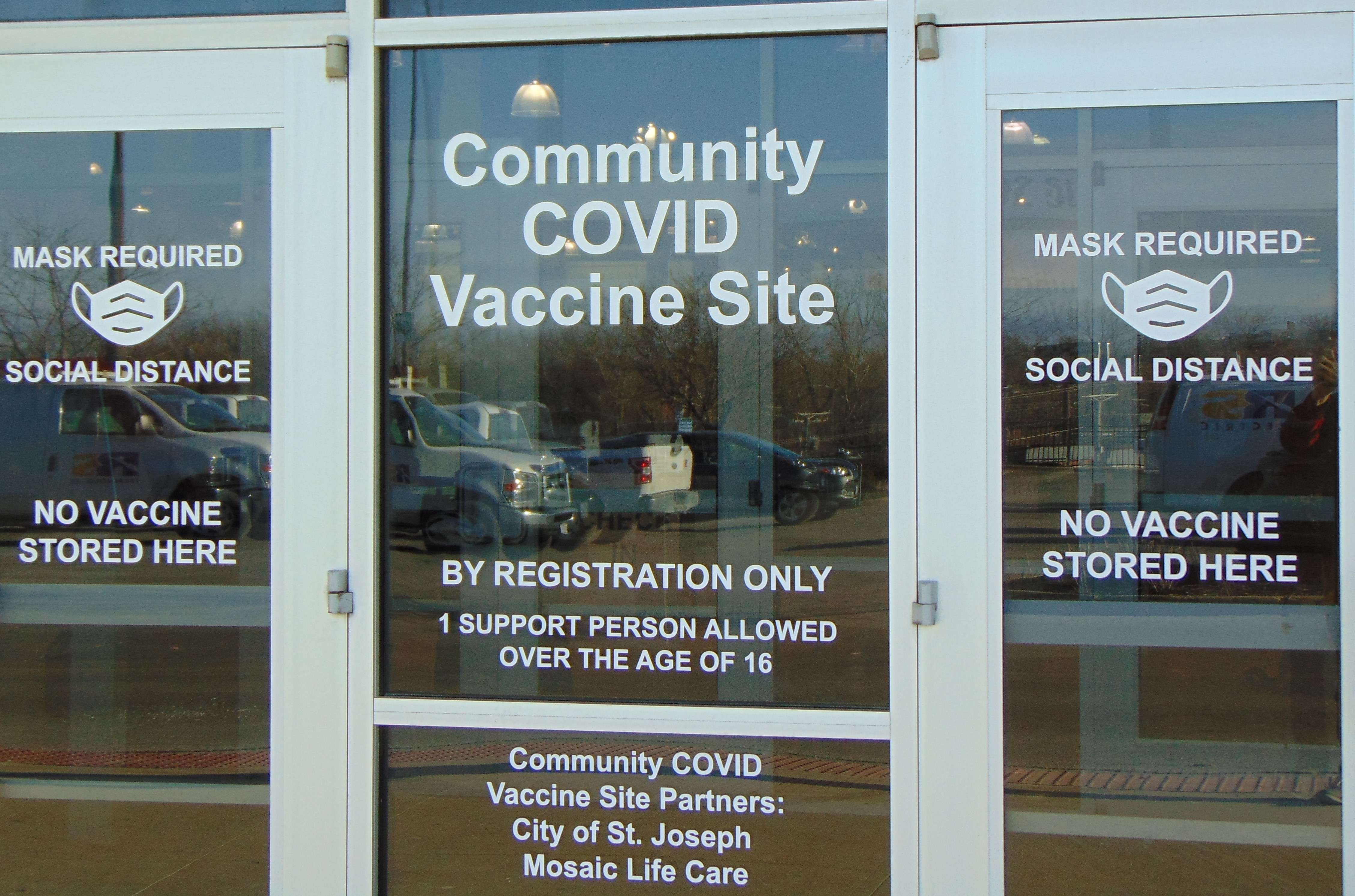 St. Joseph's Community Vaccine Center, which is operated out of the old Gordman's space by Mosaic Life Care at East Hills Shopping Center, may close for first-dose COVID vaccine appointments as soon as next week due to a lower demand. /Photo by Tommy Rezac.