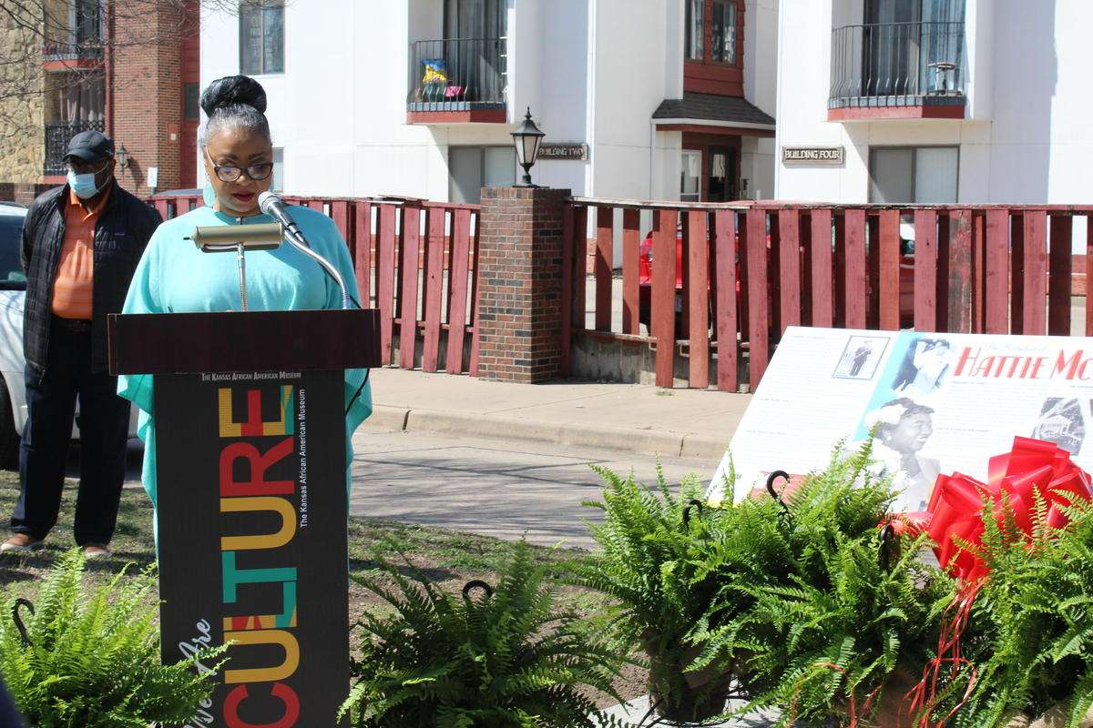 Denise Sherman, executive director of The Kansas African American Museum, speaks at a dedication ceremony for a new marker honoring Wichita native Hattie McDaniel. Credit Hugo Phan / KMUW