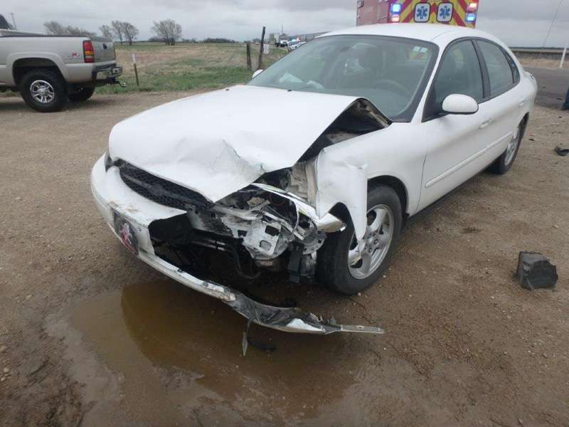 <b>The Taurus sustained front-end damage.</b> Photos courtesy Saline County Sheriff's Office